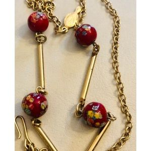 Vtge 1960s SARAH COV Red Beads Gold Tone Necklace